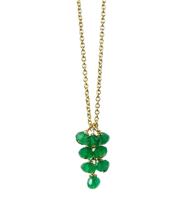 Mounir delicate drop pendant made on 14ct gold filled and a cluster of faceted green onyx beads. Retailing at £42. http://www.mounir.co.uk/index.php?route=product/product&path=60_113&product_id=800&limit=100 #mounir #jewellery #clusterpendant #droppendant #greenonyx #14ct #goldfilled #pendants