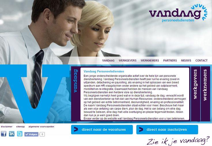 Website voor Vandaag Personeelsdiensten met eigen CMS in samenwerking met   Pyramid IT. | www.vandaagpersoneelsdiensten.nl
