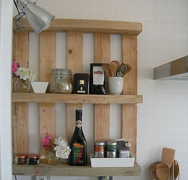 pallet storage shelve for kitchen.