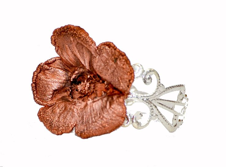 Copper Electroformed Buttercup Flower Ring. Silver Plated Adjustable ring. Hand Made in Cornwall, UK by thelongwayround on Etsy