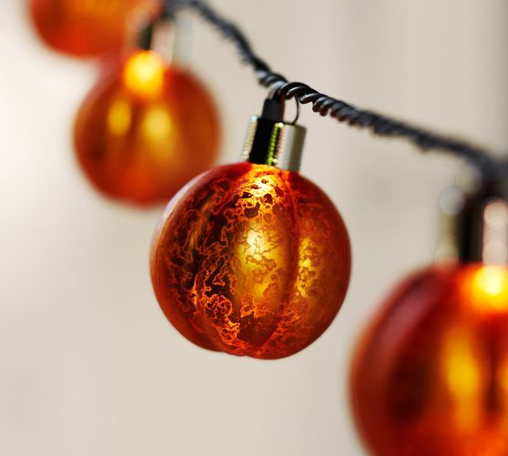Orange Mercury Glass Pumpkin String Lights From Pottery