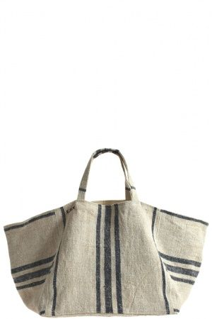 Market Tote, beach bag, stripes, linen