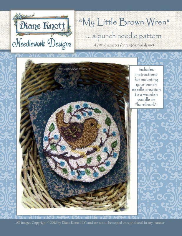 My Little Brown Wren Punchneedle Pattern Download by Diane Knott LLC by DianeKnottLLC on Etsy