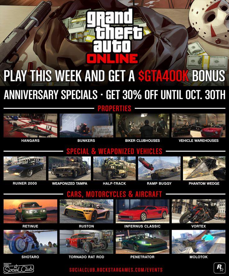 Rockstar Games Social Club - Celebrate 4 Years of GTA Online Halloween Specials GTA$400K Giveaway and More #GrandTheftAutoV #GTAV #GTA5 #GrandTheftAuto #GTA #GTAOnline #GrandTheftAuto5 #PS4 #games
