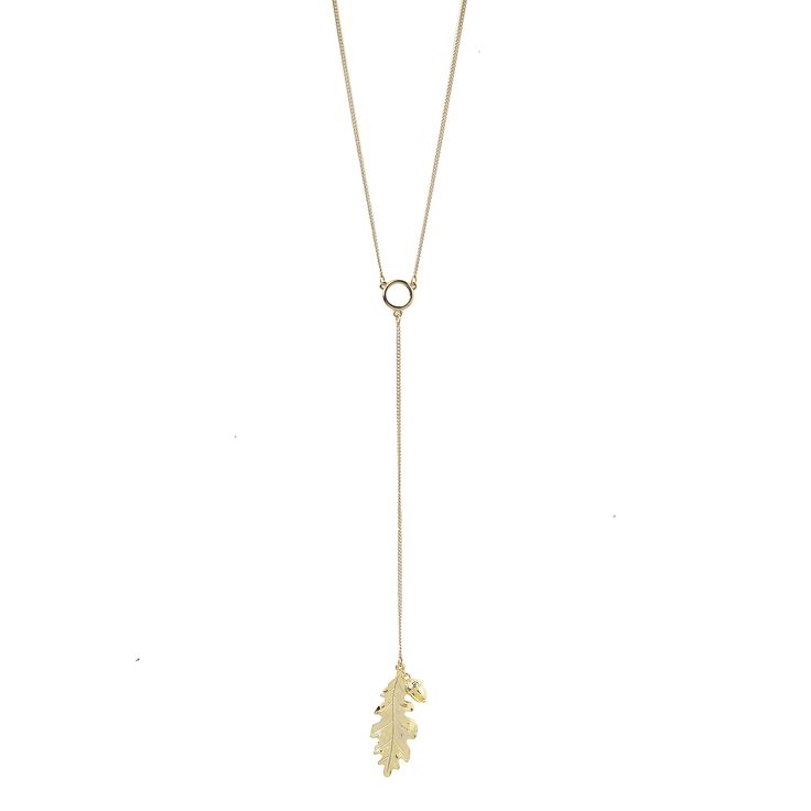 Acorn and Oak Y Necklace in Gold - available in gold and silver. $40. #goldnecklace #goldjewelry #nature #falljewelry #ynecklace #jewelrygift