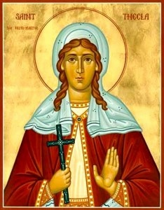 St Thekla, a young woman whose life was changed when she sat for three nights by her open window and heard Saint Paul preach.