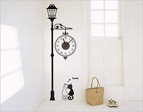 SHINA Pendule Murale Originale Moderne Horloge Murale wall stickers DIY 3D Amovible style mignon cartoon moderne réel Horloge Décoratif Décoration mural Salon Chambre Maison (❤Couple Chat): Amazon.fr: Cuisine & Maison