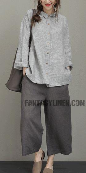 Vintage gestreiftes Leinenhemd Frauen lose Bluse Q8011