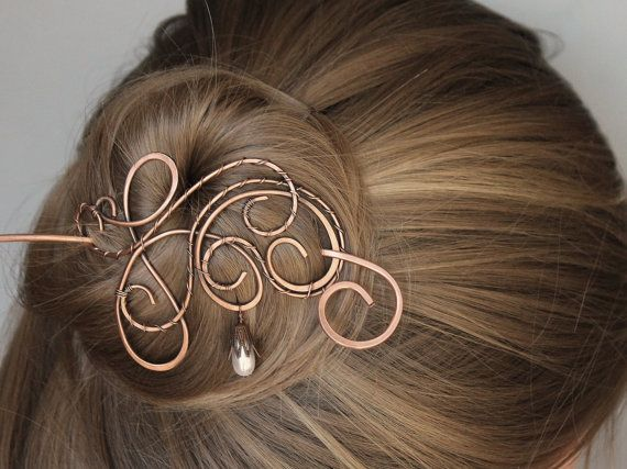 Pearl Hair Barrette Copper Wire Wrapped от CopperStreetStudios