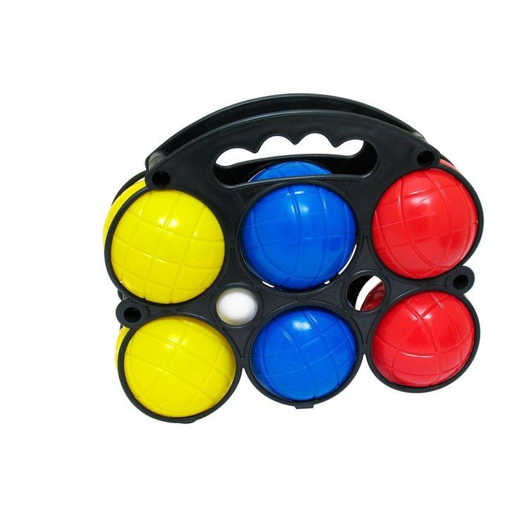 Set de 6 bolas de #petanca más la #bolapequeña con #maleta incluida para el #transporte. El set incluye 2 bolas azules, 2 rojas y 2 amarillas.