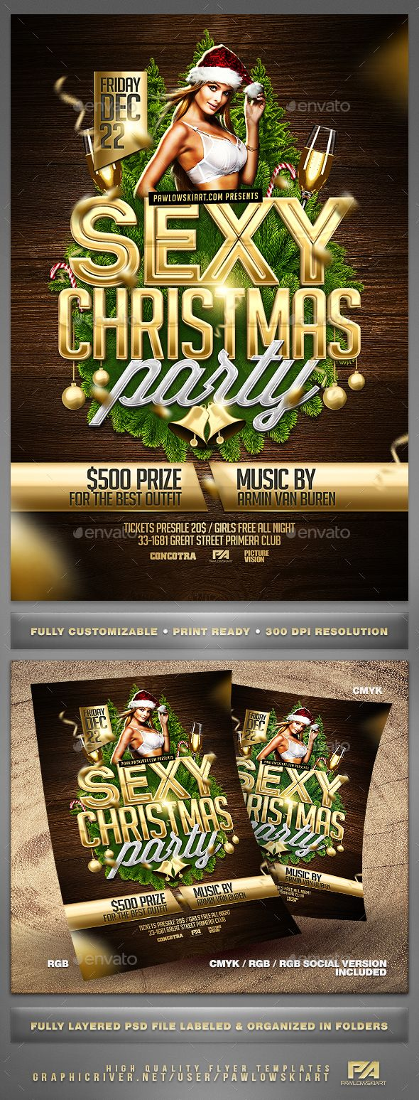 Sexy Christmas Party Flyer Template - Holidays Events