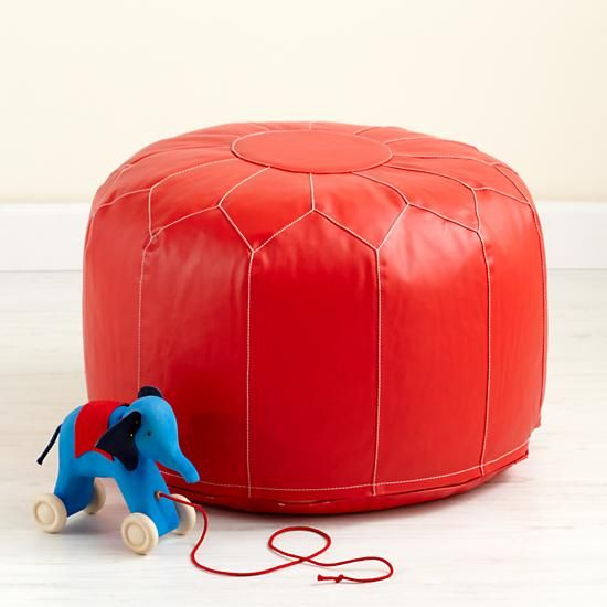 the land of nod kids 39 seating kids red faux leather pouf ottoman in soft seating project. Black Bedroom Furniture Sets. Home Design Ideas