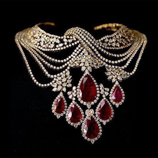 """nice Sara Zafar on Instagram: """"Beautiful diamonds ruby necklace by @farahkhanfinejewellery #jewelrydiamond"""
