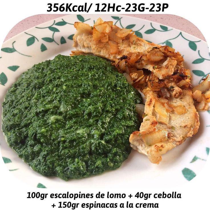 Hora de comer  Escalopines de lomo con cebolla Espinacas a la crema (mercadona) Cuenta personal @joselu_zapata