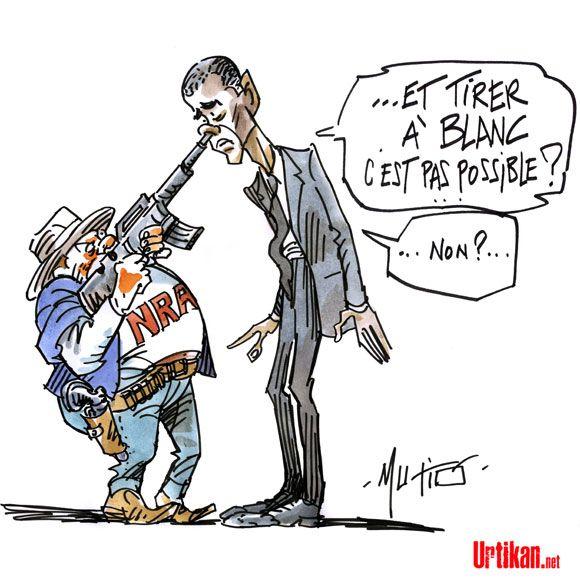 Contrôle des armes : la NRA dit non à Obama et à Biden - Dessin du jour - Urtikan.net
