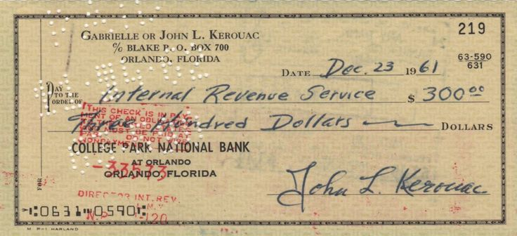 KEROUAC JACK: (1922-1969) American Author, a pioneer of the Beat Generation. Rare D.S., John L. Kerouac, being a signed cheque, Orlando, Florida, 23rd December 1961. The partially printed cheque, completed in Kerouac's hand, is drawn on the account of Gabrielle or John Kerouac at the College Park National Bank and is made payable to the Internal Revenue Service for the sum of $300. Signed by Kerouac in bold blue ink.
