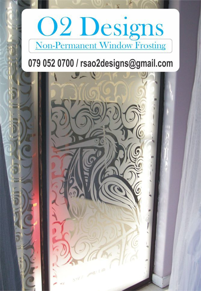 Decorative Window Frosting - See Our Work - Get A Quote – O2 Designs We Supply & Install Quality Window Frosted Vinyl; Transform Any Glass Panel.  Finally you can feel some comfort and relief knowing that we are able to assist you with your window frosting needs and requirements. Giving us a call today, to discuss your specific requirements you can buy with confidence and make the right decision. 0790520700 #WindowFrosting