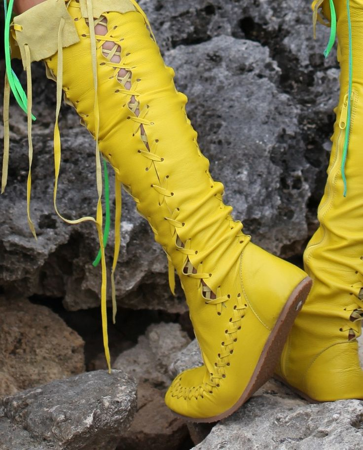 Add some sunshine to your wardrobe, with these stunning bright yellow knee high leather boots. Perfect for anyone looking for tall boots that are completely unique and sexy, these ladies boots are the ideal solution. And with high quality leather design and supple soles, these boots for women will provide you with lasting comfort.