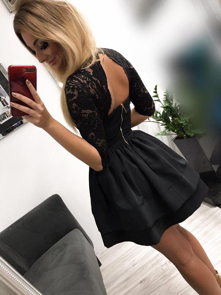 df1b19412c3a44 Sukienka czarna koronkowa mini odkryte plecy w 2019   Sukienka na ...