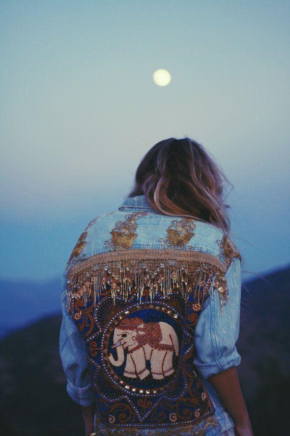 Embellished Elephant Jacket in Royal Blue by wildandfreejewelry