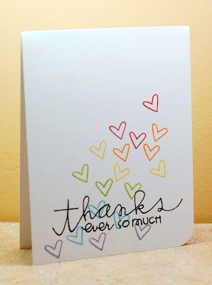 simple thank you card using paper smooches sentiment