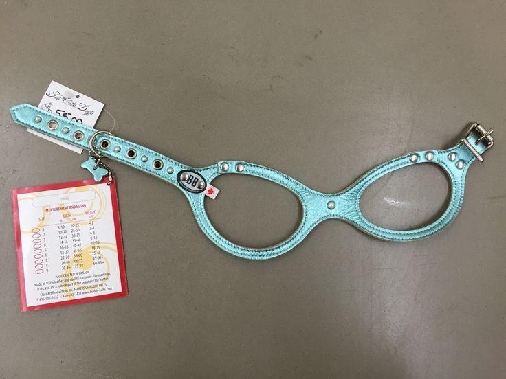 Metallic Aqua Patent Fancy Buddy Belt Harness With Pearls