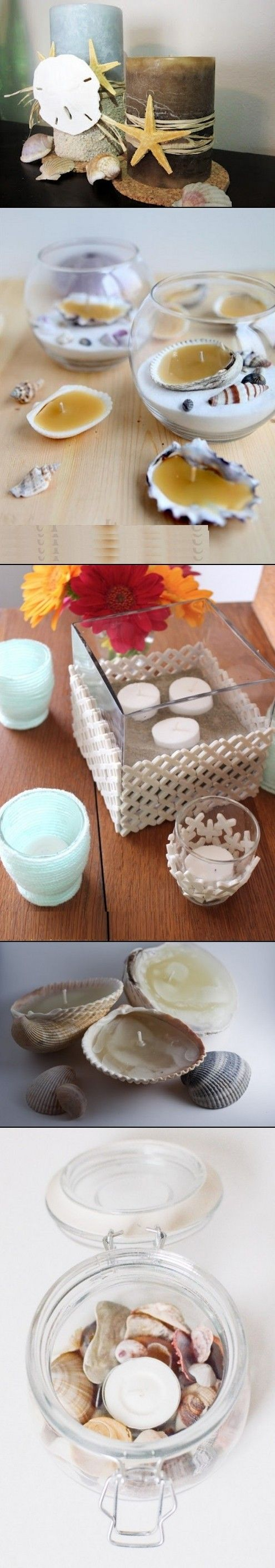 DIY candle holder in beach style. Love the second one.