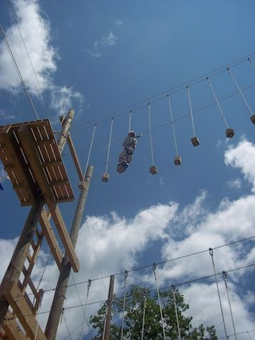 The high ropes course at Bousquet Mountain in summer: see how this ski resort transforms itself as a summer adventure center!