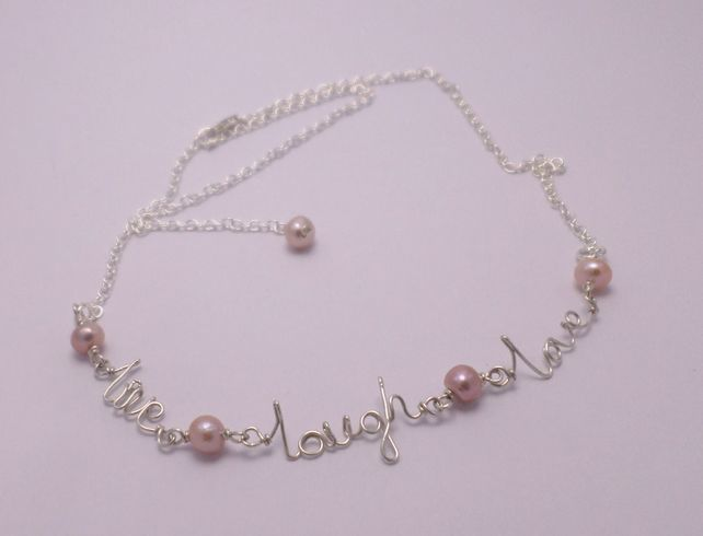 Live laugh love sterling silver and freshwater pearl necklace. £17.00