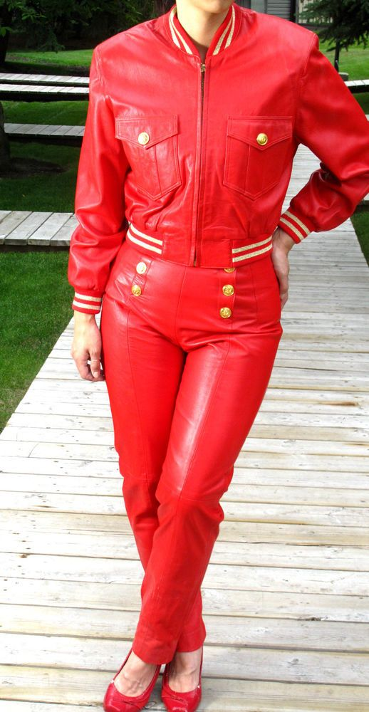 RED LEATHER DRESS SUIT -  MILITARY JACKET and PANTS - LILLIE RUBIN #LILLIERUBIN #JACKETPANTS