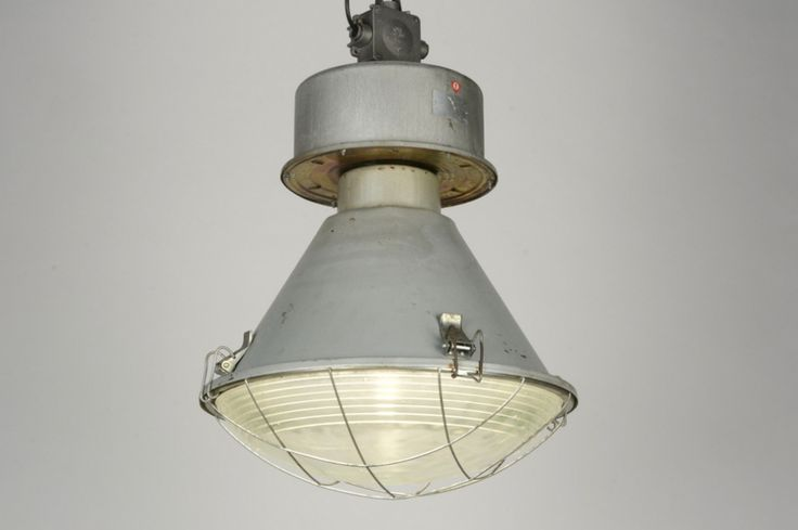 Hanglamp 88082 modern retro industrie look aluminium staal rvs staalgrijs rond