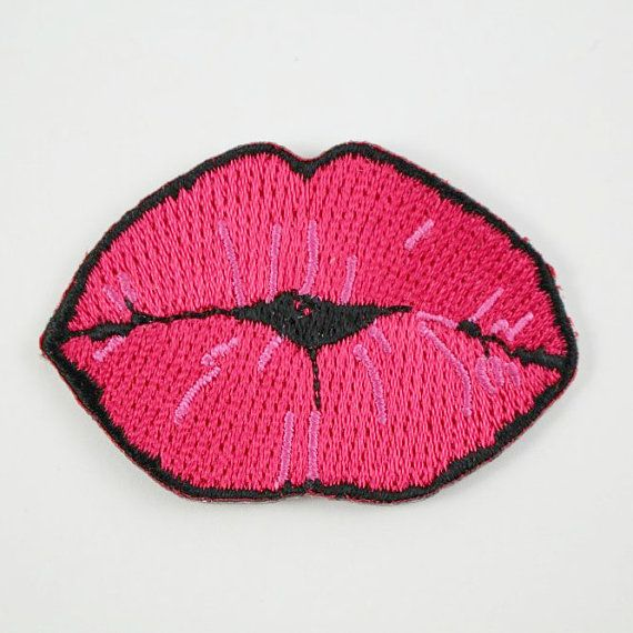 Kiss Lips Embroidered Patch / Iron-On by WildflowerandCompany