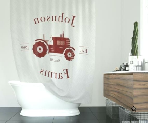 Personalized Farmhouse Shower Curtain Rustic Red Tractor