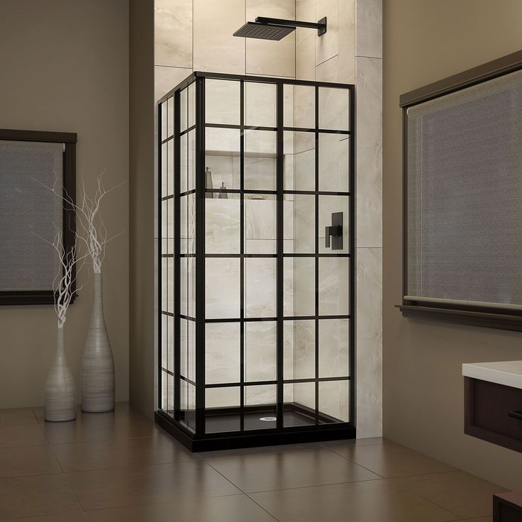 DreamLine French Corner Shower Enclosure and Shower Base Kit 36 in. W x 36 in. D x 74.75 in. H (French Black Finish), Clear