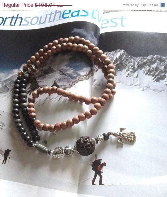 ON SALE Ice Angel Himalayan Trek Kailash 108 bead MALA <3 supports rural indian ashram education programs