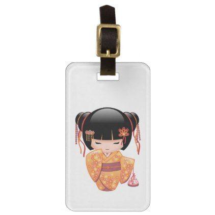 Ume Kokeshi Doll - Japanese Peach Geisha Girl Luggage Tag - girl gifts special unique diy gift idea