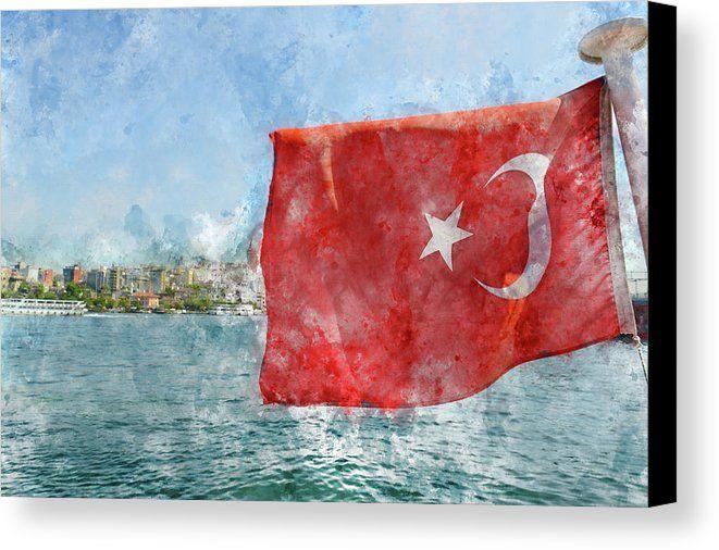 Istanbul Turkey Flag Canvas Print