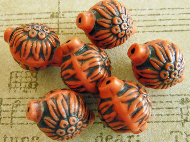 Vintage+carved++beads+(6)+terra+cotta+brick+red+carnelian+West+German+floral+lucite+focal+beads+(6)+by+a2zDesigns+on+Etsy