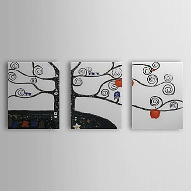 Hand Painted Oil Painting Botanical Abstract Apple Tree Set of 3 with Stretched Frame 1307-FL0196 – USD $ 99.99