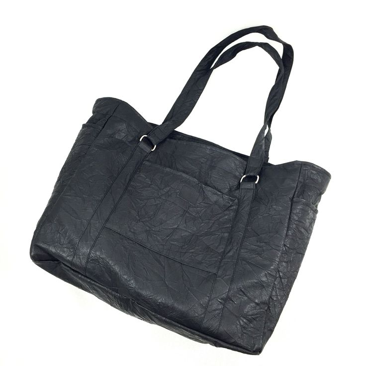 Black faux leather tote! Bag for Everyday,  For weekend For Gym Heroes