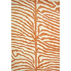 @Overstock.com.com - Hand-tufted Safari Orange Wool Rug (5' x 8') - Bring a modern and bright feel to any room in your home with this beautiful hand-knotted orange zebra-stripe wool rug. The orange stripes on a white background make this rug eye-catching and unique and will make a great accent in a room.    http://www.overstock.com/Home-Garden/Hand-tufted-Safari-Orange-Wool-Rug-5-x-8/5070561/product.html?CID=214117  $149.59