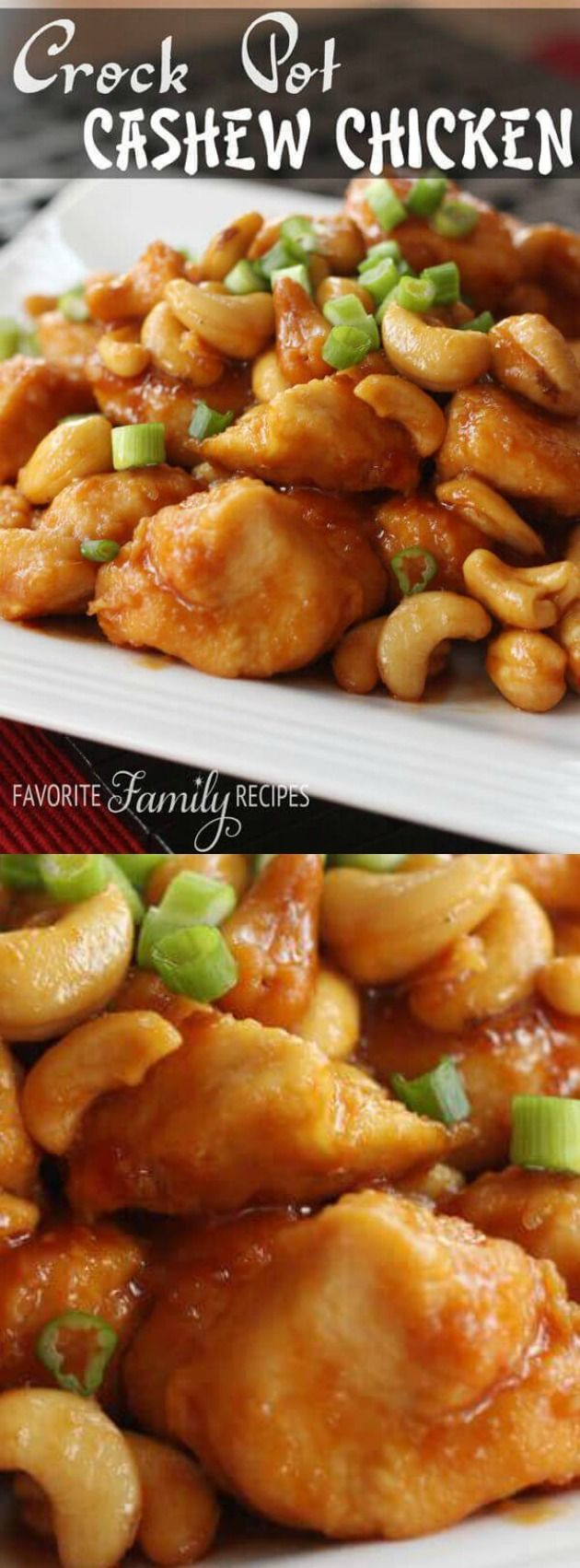 This Crock Pot Cashew Chicken from Favorite Family Recipes. It's an easy to make recipe that you can make at home and it comes out way better than most cashew chicken dishes that you can get from your local restaurant.