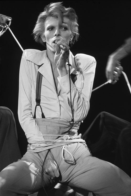 David Bowie in concert during his Diamond Dog tour in Los Angeles, circa 1974.