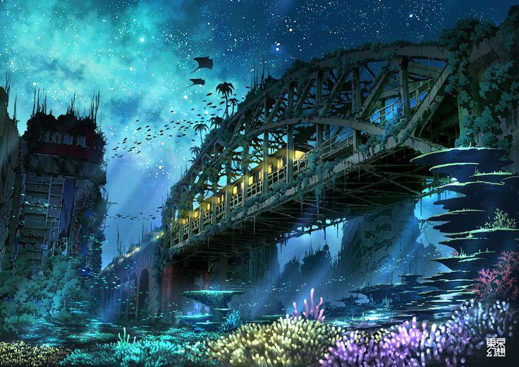 Konachan.com – 169797 animal city fish landscape night original ...