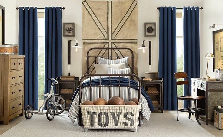 Kid's Bedroom Design: Discussion and Design Examples: Trendy Blue And Cream Boys Bedroom Decoration With Toys Or Ball Storage ~ urbanbedougirl.com Kid's Room Inspiration