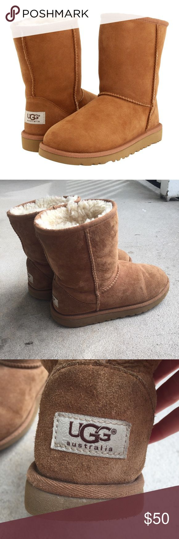 ❗️SALE ❗️Chestnut Uggs THESE WILL FIT IF YOU ARE A WOMEN'S 5!!!! Kids chesnut uggs that are used but grown out of. They are in good condition with no major problems. The only thing I can see is a bit of wrinkling in front BUT that is fixed when a foot is placed in it 😊 SUPER comfortable and so cute! True to size. A little stain on the front but not noticeable. UGG Shoes Boots
