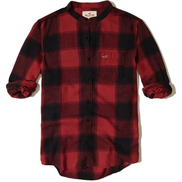 Hollister Banded Collar Patterned Flannel Shirt (56 LYD) ❤ liked on Polyvore featuring men's fashion, men's clothing, men's shirts, men's casual shirts, red pattern, mens button front shirts, mens pocket t shirts, mens banded collar shirts, mens print shirts and mens red flannel shirt