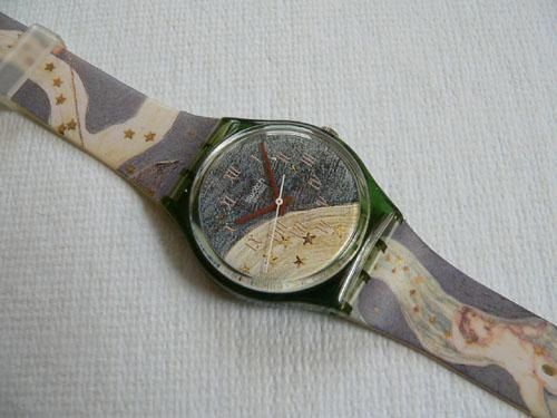 Vintage 1993 Swatch Watch Voie Lacee Blue with Angels and Gold Stars  Want.