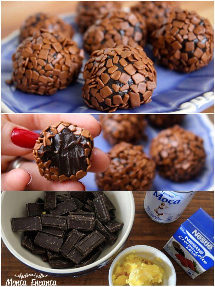 Brigadeiro Gourmet, ganha chocolate em barra, meio amargo e creme de leite. O que deixa a receita macia, mais delicada, um pouco menos doce e ainda mais gostosa!