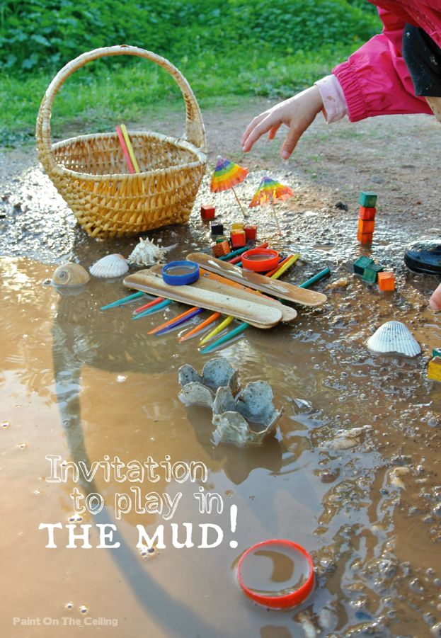 Invitation to play in a puddle!  There is definitely no right or wrong way to engage and learn with these materials :)